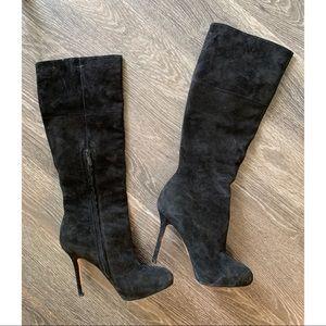 Sam Edelman black suede Empire heeled boots 8